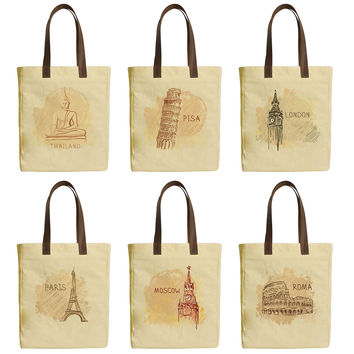 World Famous Destinations Beige Printed Canvas Tote Bags Leather Handles WAS_30