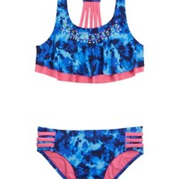 Dye Effect Flounce Bikini Swimsuit