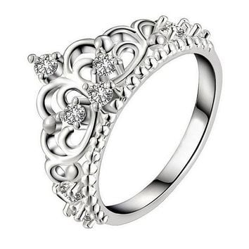 Cute Crystal Inlaid Crown Ring Color Silver Plated Party
