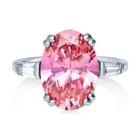 Sterling Silver Oval Pink CZ Solitaire RingBe the first to write a reviewSKU# R814-02
