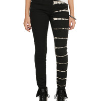 Royal Bones By Tripp Black Tie Dye Split Leg Skinny Jeans