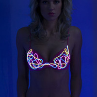 Light up Bra: SOUND ACTIVATED, El wire bra blinks to the beat, Neon light up bra - NeonNancy.com