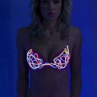 Light up Bra:  eL wire hand sewn squiggle pattern BURNING MAN Neon bra