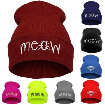 2018 Embroidery Meow Winter Hat Men Caps Women's Beanies Warm Hip Hop Bonnet Wool Blends Knitted Hat Female Skullies Beanies