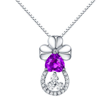 S925 Sterling Silver Heart-shaped Pendant Necklace Female Clover With Natural Amethyst Necklace Personalized Engraved Providence