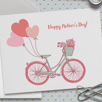 Happy Mother's Day Card, 5.5 x 4.25 Inch (A2),Card for Mom,  Pink Balloons Mother's Day Card,Pink Bicycle Mother's Day Card, Girly