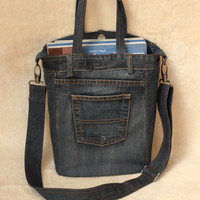 Recycled denim bag, unisex bag, casual denim bag, upcycled denim bag, handbag, tote bag
