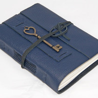 Navy Blue Leather Journal with Key Charm Bookmark and Lined Paper