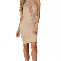 Emmy Nude Lace Up Sleeveless Jersey Bodycon Halter Dress