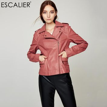 Motorcycle Leather Jacket Women Casual Long Sleeve Slim Coat Fashion PU Leather Turn-down Collar Bomber Jacket