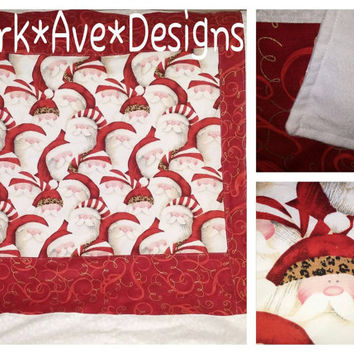 "Santa hohoho Christmas baby Toddler blanket 32""x36"" Special for the Holidays"