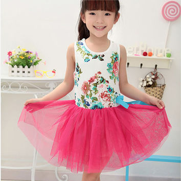 Cotton Blending Baby Girls princessTutu Dress Hollow flower Tulle dress One Piece Outfit Party 2-7Y