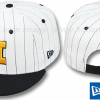hatland.com - close up of Michigan 'PINSTRIPE BITD SNAPBACK' White-Navy Hat by New Era