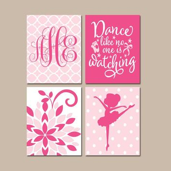 BALLERINA Wall Art, Hot Pink Baby Girl Nursery Decor, Dance Like No One Is Watching. Dancer Bedroom Wall Decor, CANVAS or Print, Set of 4