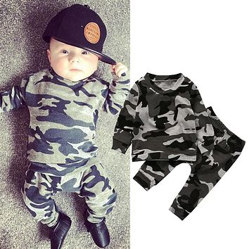 Camouflage 2PCS Newborn Baby Boy Girl Clothes Set Fashion Toddler Kids Long Sleeve T-shirt Tops Pant Outfit Children Tracksuit