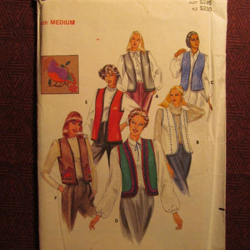 SALE Uncut 1980's Butterick Sewing Pattern, 3971! 12-14 Medium/Women's/Misses/Loose-fitting Vests/Sleeveless Vests/Valet Costume/Uniforms