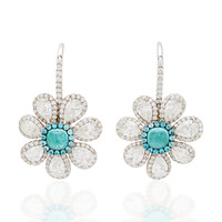 One-Of-A-Kind Paraiba Cabochon Flower Earrings | Moda Operandi