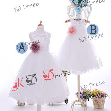 20% OFF Beaded Top Ivory Tulle Skirt Flower Girl/Toddler Birthday Party Dress with Flower/Bow(Z1041)