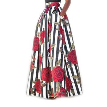 Luv Me More Ladies Pocket Long  Pleated Skirt High Waisted Floral Maxi Skirt Plus size