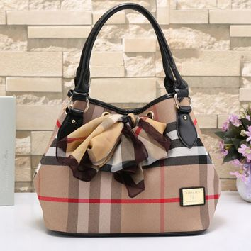 Burberry Women Fashion Shopping Leather Shoulder Bag Satchel Crossbody-1
