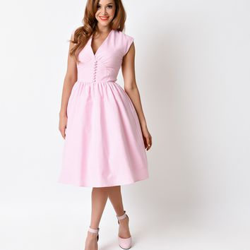 1950s Pin Up Style Pink Gingham Cap Sleeve Golly Miss Dolly Swing Dress