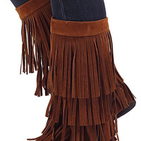 Moroccan Fringe Boots-Rust