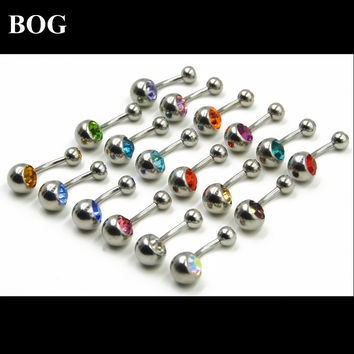 BOG-Lot 18pcs  Surgical Steel Double CZ Crystal Belly Button Ring Navel Piercing Barbell Stud Bar Body Jewelry