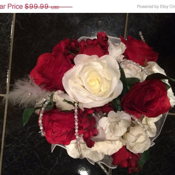 WEDDING SALE White and Red Rose Bridal Bouquet