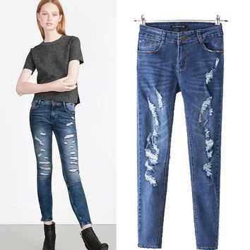 Women's Fashion Rinsed Denim Ripped Holes Jeans Pants Skinny Pants [5013157636]