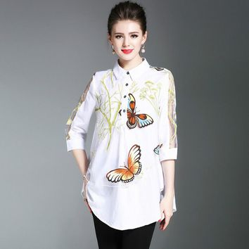 Autumn Butterfly Print Hollow Out Blouse Fashion Plus Size Women Clothing Turn-down Collar Three Quarter Sleeve All Match Top