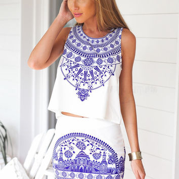 White Porcelain Print Sleeveless Top and Mini Skirt Set