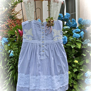 Alice In Wonderland Tea DressDove Grey  Boho Romantic Mori Girl Forest Girl Dolly Kei Vintage Style