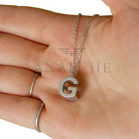 Two initial Cubic monogram necklace, two characters monogram silver necklace, his and her initials, sanded monogram necklace, christmas gift