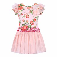 Girls Christmas Dress Floral Printed Kids Clothes
