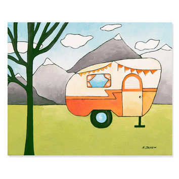 Orange Camper Trailer Art - Adventure Wall Art Original Painting - Mountain Camping Art - Kids Room Decor - 8x10