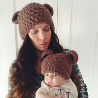 Adult fuzzy bear hat, Animal hat,Bear hat, Mommy and me hats, photo props,Hats with ears, Brown hat