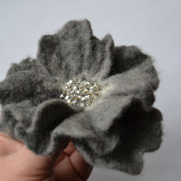 Gray Felted Flower Brooch,Felt Flower Pin with Silver Beads, Wool Flower Brooch,Wet Felted Flower,Wet Felted Corsage Brooch,Woolen Brooch