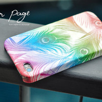 Apple iphone case for iphone iphone 5 iphone 4 iphone 4s iPhone 3Gs : Rainbow peacock feather