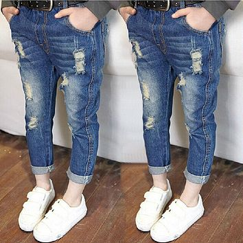 Girls Hole jeans Baby Boys Girls Clothing Brand Fashion Autumn Kids Trousers Children Clothing Rated