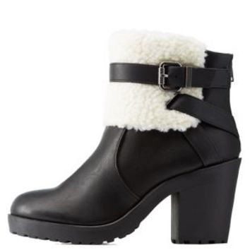 Black Shearling-Trim Belted Chunky Heel Booties by Charlotte Russe