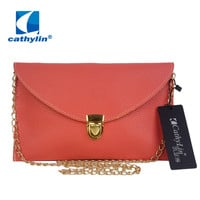 Cathylin 2017 PU Leather Limited Hot Envelope Clutch Purse Fashion Women Messenger Bag with Chain
