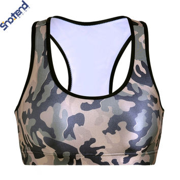 S.T New Arrival Gothic Crop Tops Army Green Camouflage Printed Women Bras With Cotton Pad 3D Printed Tops