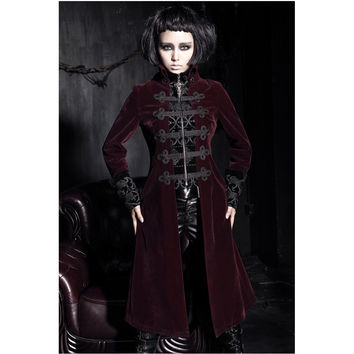 Fashion Gothic Punk Womens Streampunk Jacket Coat Hoodie Black Military Cosplay outfit