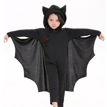 DCCKH6B Takerlama Kids Halloween Purim Carnival Black Vampire Bat Costume Stage Costume Children Cosplay Costumes Jumpsuits