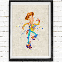Toy Story, Woody, Disney, Watercolor Print, Baby Nursery Room Art, Home Decor, Not Framed, Buy 2 Get 1 Free!