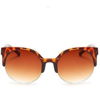 Womens Vintage Style Retro Tortoiseshell & Tea Lens Round Cat Eye Sunglasses