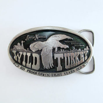 1974 Wild Turkey Belt Buckle w/ Green Enamel, Bergamot Brass Works, Vintage Men's Buckle, Pewter Belt Buckle, Great Father's Day Gift, NICE!