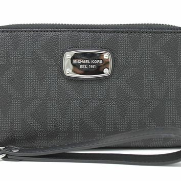 Michael Kors Jet Set Item Large Flat Multifunction Phone Wristlet Case, Black