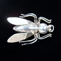 Sterling Silver Fly Brooch, Iguala Mexico, Insect Brooch, Signed EML, 925 Silver, Insect Pin, Fly Pin, Vintage Jewelry, Sterling Pin