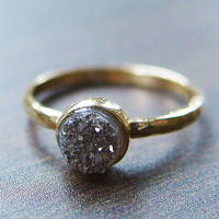 Silver gray druzy Ring in 14k Gold